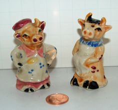 From a local estate, here is a wonderful vintage salt and pepper shaker set. Bessie and Bossie cow are now cooking and cleaning! These little shakers date to the late 1940's or early 50's.