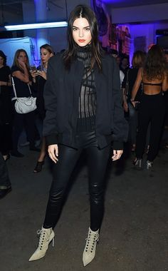On Kendall Jenner: Balenciaga Studded Side-Zip Ankle Booties ($1255).