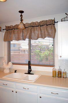 Burlap window valance...so pretty!