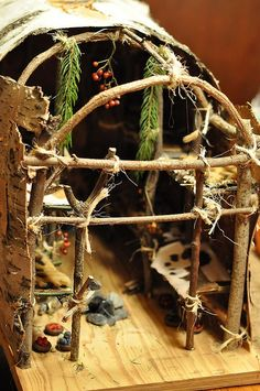 Little Girl's Assignment: Build a longhouse or wigwam, using as many natural resources as possible. She was determined not to use anything other than natural resources. If it was up to her, I don'...