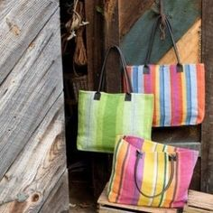 summer totes from dash and albert ... vibrant stripes are perfect for the beach or pool. pwfhome.com