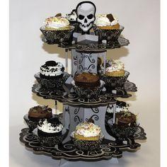 Présentoir à cupcakes tête de mort baroque - Annikids