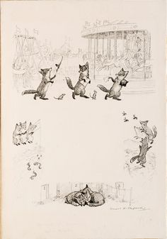 """SHEPARD, E. H., & A. A. Milne - The Three Foxes (from When We Were Very Young) - Signed in pen lower right by Shepard. Return name and address to verso in Shepard's hand together with publisher's stamp """"Copyright reserved by Methuen & Co. Ltd""""."""