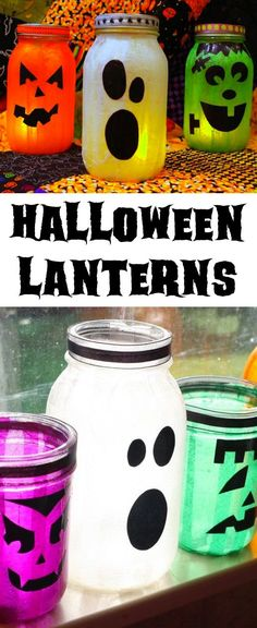 Easy and Cheap DIY Halloween Party Decor -- A lot of fun DIY mason jar crafts and projects here! Chalkboard Mason Jars, Mason Jar Candles, Mason Jar Lighting, Diy Candles, Mason Jar Projects, Mason Jar Crafts, Mason Jar Diy, Cool Diy, Fun Diy