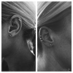 I like higher helix piercings when the jewelry is a hoop. If it's a stud I l… - Piercings İdeas Triple Helix Piercing, Forward Helix Piercing, Double Cartilage Piercing, Tragus Piercings, Piercing Tattoo, Septum, Ear Piercings Chart, Multiple Ear Piercings, Unique Piercings