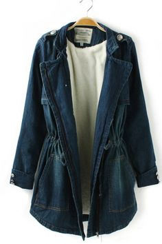 $78 Lg. Shoulder Board Waist Denim Coats Outerwear