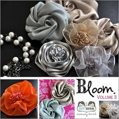 How to make a variety of fabric flowers. I love making fabric flowers :) Faux Flowers, Diy Flowers, Paper Flowers, Cloth Flowers, Satin Flowers, Flower Ideas, Beautiful Flowers, Do It Yourself Baby, Do It Yourself Fashion