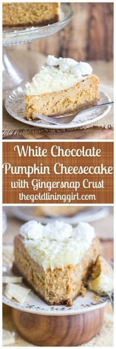 Perfectly rich and creamy spiced pumpkin cheesecake, infused with melted white chocolate, chock-full of white chocolate chips, and with a spicy gingersnap cookie crust!