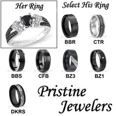 His & Hers Wedding Ring Womens .925 Sterling Mens Silver Black Tungsten Band SET