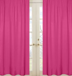 Solid Hot Pink Window Curtains Drapes - Set 2 Panels