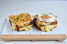 Sandviș cald cu brânză și șuncă - Croque Madame & Croque Monsieur. Rețeta de sandvișuri gratinate la cuptor umplute cu șuncă sau brânză. Croque Monsier, Crochet Food, Salmon Burgers, Breakfast Recipes, Sandwiches, Brunch, Menu, Dinner, Toast