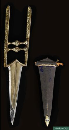 A KOFTGARI KATAR AND SCABBARD, INDIA, CIRCA 18TH CENTURY  The steel blade fullered with swollen tip, hilt with double grip and decorated throughout with gold overlaid inscriptions and floral motifs, the scabbard with chape decorated ensuite.