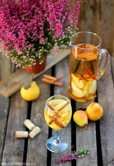 Autumn sangria with pears