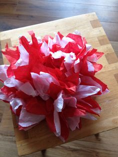 Valentines pom pom gift decoration