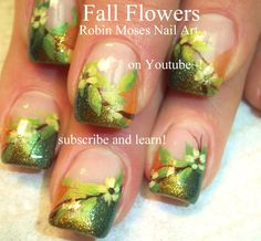 Fall Flower Nail Art by Robin Moses