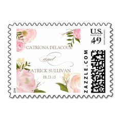Shop Romantic Watercolor Flowers Wedding Stamp created by misstallulah. Floral Wedding Stationery, Spring Wedding Invitations, Elegant Wedding Invitations, Wedding Postage Stamps, Wedding Stamps, 49er, Whimsical Wedding, Rustic Wedding, Love And Marriage