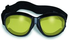 Nitro YELLOW Lens Motorcycle Goggles Black THICK Padded WITH Storage Pouch