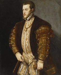 Portrait of King Philip II of Spain, in Gold-Embroidered Costume with Order of the Golden Fleece by Titian, 16th century