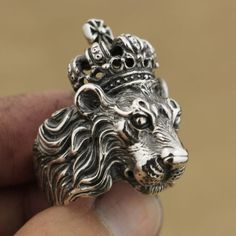Handmade 925 Sterling Silver Crown Lion King Mens Biker Ring TA75A US Size 10.5