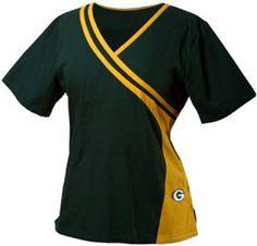 Amazon.com : Green Bay Packers Women's Two Tone Scrub Top : Sports & Outdoors