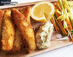 Homemade Fishfingers with Remoulade and Vegetable Sticks