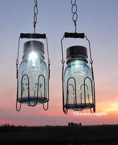 Rustic Country Lantern Jars Blue Mason Lamps, Home and Garden Decor Metal Basket, 2 Antique Mason Jar Outdoor Solar Lights in Baskets