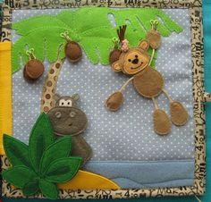 Výsledek obrázku pro monkey with banana quiet book page Diy Quiet Books, Baby Quiet Book, Felt Quiet Books, Quiet Book Patterns, Felt Patterns, Baby Crafts, Felt Crafts, Couture Bb, Silent Book