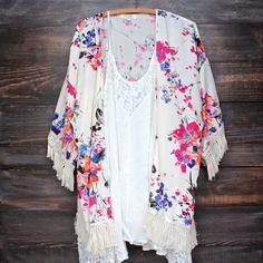 floral printed fringe kimono jacket - ivory