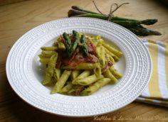 Penne alla crema di asparagi e speck,ricetta raffinata