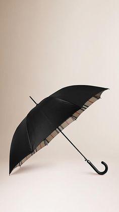 Black camel check Check-Lined Walking Umbrella - Image 1