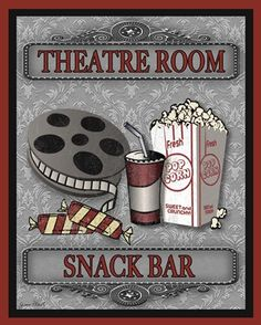 Jean Plout Solid-Faced Canvas Print Wall Art Print entitled Snack Bar-Movie, None Family Wall Decor, Room Wall Decor, Movie Theater Decor, Wall Decor Design, Cinema Posters, Art Posters, Movie Posters, Snack Bar, Snack Station