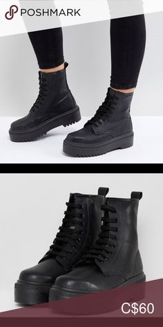 ASOS chunky boots combat boots🥾 Size 8 women's Brand New never worn Purchased off ASOS love the look of these boots but need a bigger size unfortunately ASOS Shoes Combat & Moto Boots Moto Boots, Combat Boots, Asos Shoes, Chunky Boots, Size 8 Women, All Black Sneakers, Plus Fashion, Fashion Trends, Brand New