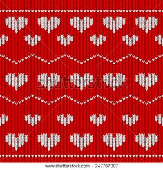 Red knitted seamless pattern with hearts. Vector illustration
