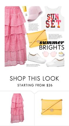 """""""Summer Brights"""" by beebeely-look ❤ liked on Polyvore featuring Tsumori Chisato, Topshop, Clinique, casual, summerstyle, ruffles, sammydress and whitesneakers"""