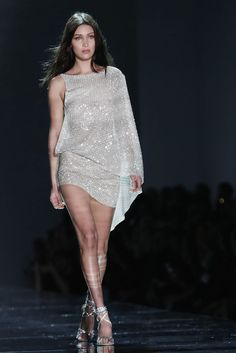 Bella Hadid rocked the Alexandre Vauthier couture runway in this Swarovski crystal-covered number: