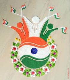 50 Most Beautiful Independence Day Rangoli Design (ideas) that you can make yourself or get it made on this Independence Day. Rangoli Designs Simple Diwali, Rangoli Simple, Rangoli Designs Flower, Free Hand Rangoli Design, Rangoli Ideas, Colorful Rangoli Designs, Rangoli Designs Images, Flower Rangoli, Beautiful Rangoli Designs