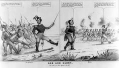 """A satire on Franklin Pierce's alleged ineptness as an officer during the Mexican War. There are two scenes. In the left frame, in """"New Hampshire,"""" Pierce trains a band of volunteer militia, exhorting them, """"Forward! my brave Compatriots preserve but that undaunted front, and victory is ours."""""""