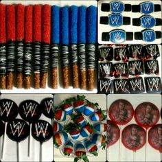 WWE Themed Edible Party Favors. Cookies, Chocolate Covered Pretzels Rods, Chocolate Covered Strawberries, Lollipops