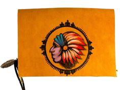 indianer Kreis, Leder, Handgearbeitet, Malerei