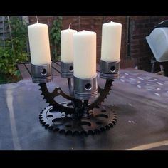 Car part candelabra - who said being into cars wasn't romantic!