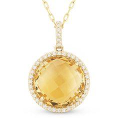 4.71ct Checkerboard Citrine & Round Cut Diamond Halo Pendant & Chain Necklace in 14k Yellow Gold - AlfredAndVincent.com