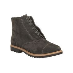 Our popular Griffin style has been transformed into a hiker inspired ankle boot for the new season. Soft dark grey suede looks great with denim and an inside zip makes for easy on/off. A razor tooth sole, stitched toe cap and partly concealed laces add contemporary touches while comfortable Cushion Soft layers are perfect for those on their feet all day.