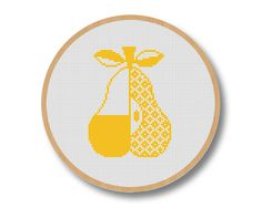 Cross Stitch Pattern PDF Pear Counted Cross Stitch by KokoPattern, $4.50