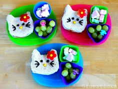 I'm not 'that' mom who makes these fancy lunches but Charlotte would get a kick out of this. Maybe birthday lunch? Fun Crafts, Crafts For Kids, Birthday Lunch, Cute Snacks, Kids Meals, Hello Kitty, Sandwiches, Favorite Recipes, Kid Lunches