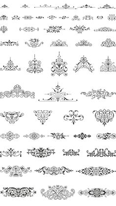 vector art for artdeco embroidery patterns Henna Tattoo Muster, Muster Tattoos, Stencil Patterns, Embroidery Patterns, Et Wallpaper, Art Nouveau, Stencils, Doodle Drawing, Etiquette Vintage