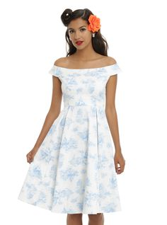 """<p>You'll look as delicate as a princess at your next garden party in this off-the-shoulder dressfrom Disney. The white empire waist heavy cotton dress haslight blue toile print of your favorite princesses that's designedto look like your grandmother's china pattern! Back zipper closure.</p>  <ul> <li>97% cotton; 3% spandex</li> <li>Wash cold; hang dry</li> <li>34 1/2"""" from center neckline to hem</li> <li>Imported</li> </ul>"""