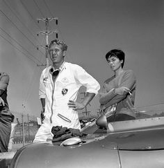 American actor, Steve McQueen and his wife, Neile Adams with his 1959 Lotus Eleven racing car at Del Mar raceway, San Diego, California. Image dated September 19, 1959.