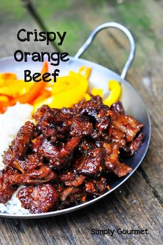 Simply Gourmet: Crispy Orange Beef The worst thing about having food issues is not having the luxury to eat out. I call it a luxury because every once in a while I wo. Paleo Recipes, Asian Recipes, Cooking Recipes, Orange Recipes, Chinese Beef Recipes, Fondue Recipes, Kabob Recipes, Gourmet Recipes, Asian Foods