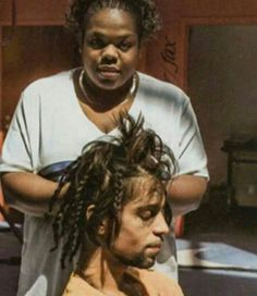 Getting his hair done