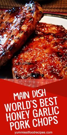 The best honey-garlic pork chops in the world - best dinner ideas - . - The best honey-garlic pork chops in the world – best dinner ideas – the - Easy Pork Chop Recipes, Healthy Recipes, Bbq Recipes Pork Chops, Spinach Recipes, Healthy Food, Honey Garlic Pork Chops, Honey Glazed Pork Chops, Best Grilled Pork Chops, Bbq Baked Pork Chops
